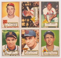 Lot of (6) 1952 Topps Baseball Cards with #91 Red Schoendienst, #101 Max Lanier, #105 Johnny Pramesa, #106 Mickey Vernon, #108 Jim Konstanty