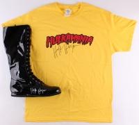Lot of (2) Hulk Hogan Signed Items with Wrestling Boot & T-Shirt (Schwartz COA)