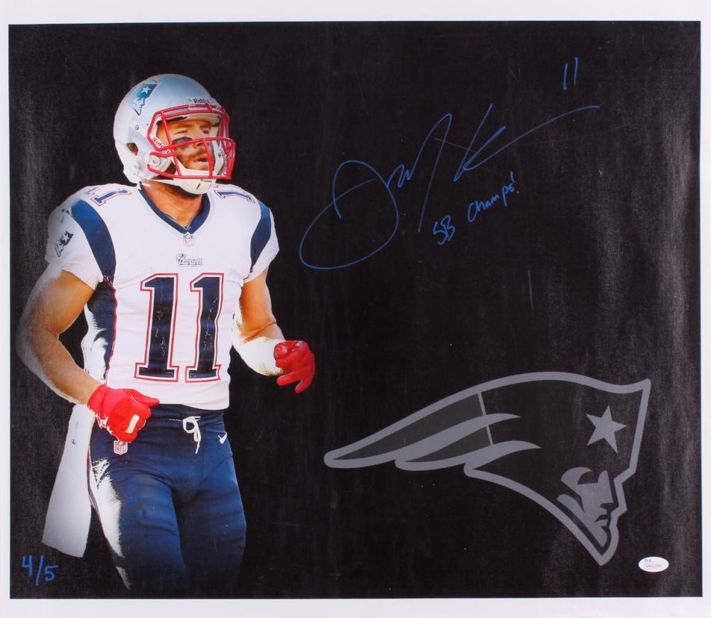 664edf712eb Julian Edelman Signed Patriots 21x23.75 Photo on Canvas Inscribed