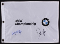 Dustin Johnson & Wayne Gretzky Signed 2016 BMW Championship Pin Flag (JSA LOA)