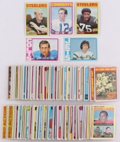 Base Set of (263) 1972 Topps Football Cards with #230 Joe Greene, #100 Joe Namath, #200 Roger Staubach, #165 John Unitas, #150 Terry Bradshaw