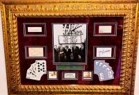Rat Pack Signed 25x35 Custom Framed Display with (5) Signatures Including Frank Sinatra, Dean Martin, Peter Lawford, Joey Bishop & Sammy Davis Jr. (JSA LOA & JSA COA)