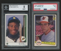 Lot of (2) Graded Baseball Rookie Cards with 1989 Upper Deck #1 Ken Griffey Jr. RC (BGS 8) & 1982 Donruss #405 Cal Ripken Jr. RC (PSA 7)