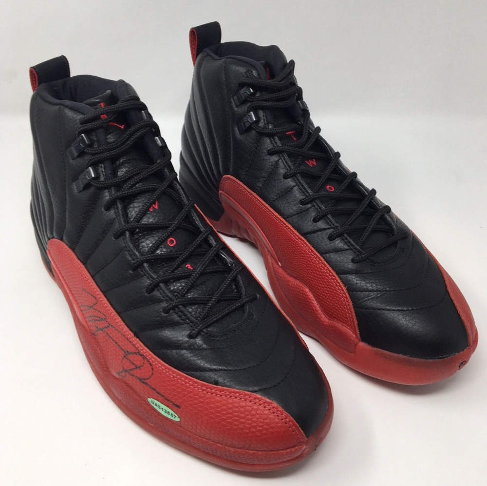 Michael jordan signed original 1997 nike air jordan 12 flu basketball shoes uda coa pristine - Photos of all jordan shoes ...