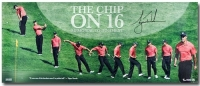 "Tiger Woods Signed ""The Chip on 16"" 15x36 Limited Edition Photo (UDA COA) at PristineAuction.com"