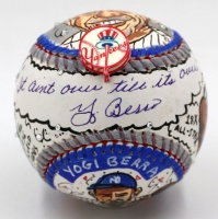"Yogi Berra Signed New York Yankees Baseball Hand-Painted by Charles Fazzino Inscribed ""It Aint Over Till Its Over"" (JSA COA)"