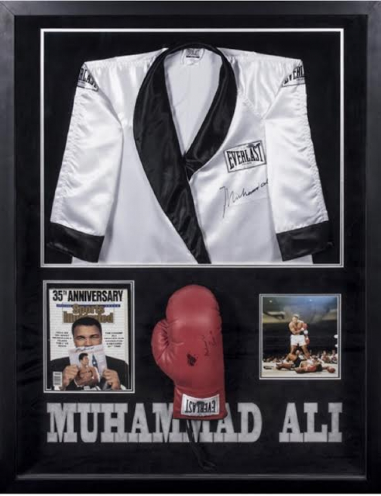 Muhammad Ali Signed 38x50 Custom Framed Boxing Robe 4b7550311