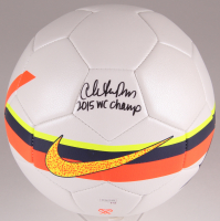"""Christen Press Signed Nike Soccer Ball inscribed """"2015 WC Champs"""" (JSA COA) at PristineAuction.com"""