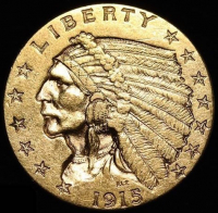 1915 $2.50 Indian Head Quarter Eagle Gold Coin (High Grade Condition)