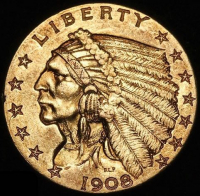 1908 $2.50 Indian Head Quarter Eagle Gold Coin (High Grade Condition)