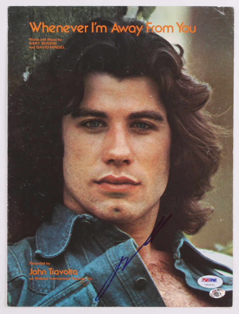 "John Travolta Signed ""Whenever I'm Away From You"" 9x12 Sheet Music (PSA Hologram) at PristineAuction.com"
