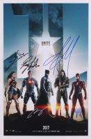 """Justice League"" 11x17 Movie Poster Photo Signed by (5) with Ben Affleck, Ezra Miller, Gal Gadot, Jason Mamoa (JSA ALOA)"