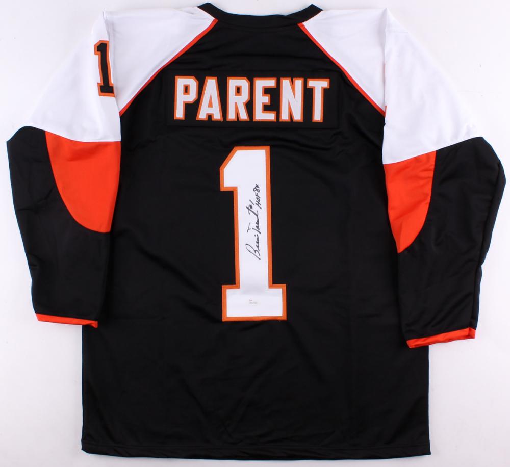 Bernie Parent Signed Flyers Jersey Inscribed