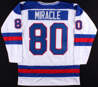 """Mike Eruzione Signed Team USA """"Miracle on Ice"""" Jersey (Leaf COA)"""