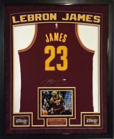 LeBron James Signed Cavaliers 36x44 Custom Framed Authentic Adidas Road Jersey (UDA COA)