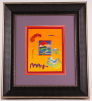 """Peter Max """"Without Borders"""" Signed 8.5"""" x 11"""" Original Acrylic Mixed Media Painting 1/1 (Custom Framed to 22"""" x 24.75"""") (Max LOA)"""
