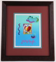 "Peter Max ""Heart Series"" Signed 8.5"" x 11"" Original Acrylic Mixed Media Painting 1/1 (Custom Framed to 19"" x 21.75"") (Max LOA)"