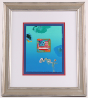 """Peter Max """"Flag with Heart"""" Signed 8.5"""" x 11"""" Original Acrylic Mixed Media Painting 1/1 (Custom Framed to 19.5"""" x 22.5"""") (Max LOA)"""