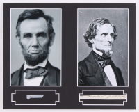 Abraham Lincoln & Jefferson Davis Custom Matted Display with (2) Hand-Written Words from Documents (PSA LOA Copy)