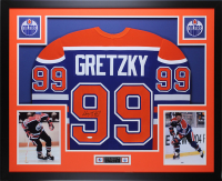 "Wayne Gretzky Signed Oilers 35"" x 43"" Custom Framed Jersey (UDA COA)"