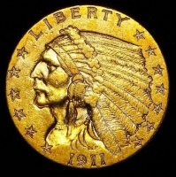 1911 $2.50 Indian Head Quarter Eagle Gold Coin (High Grade Condition)