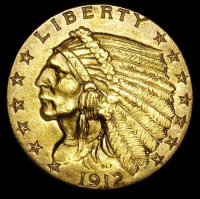 1912 $2.50 Indian Head Quarter Eagle Gold Coin (High Grade Condition) at PristineAuction.com
