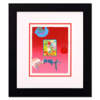 "Peter Max Signed ""Profile Series"" 19x22 Custom Framed One-of-a-Kind Acrylic Mixed Media"