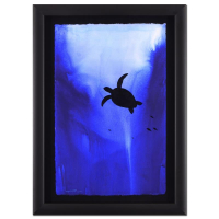 "Wyland Signed ""Turtle"" 20x28 Custom Framed Original Watercolor Painting"