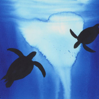 """Wyland Signed """"Two Turtles"""" 20x28 Custom Framed Original Watercolor Painting at PristineAuction.com"""