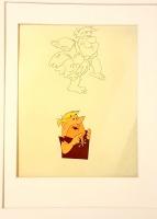 Fred Flintstone & Barney Rubble 1980 Fruity Pebbles TV Commercial Original Custom Matted 16x20 Animation Art Production Cel & Drawing