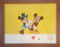 "Walt Disney Mickey & Minnie ""Surprise Party Hugs & Kisses""1988 LE Animation 12x16 Custom Framed Serigraph Cel (Disney Seal)"