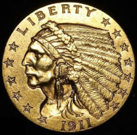 1911 $2.50 Indian Head Quarter Eagle Gold Coin