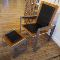 """Magnet Chair & Ottoman"" 28x39x40 Original Wood Furniture by Adam Schwoeppe"