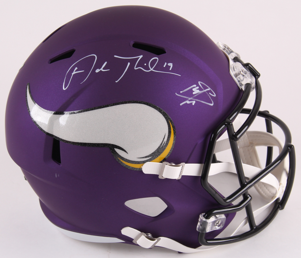 Adam Thielen Stefon Diggs Signed Vikings Full Size Matte Purple Speed Helmet TSE