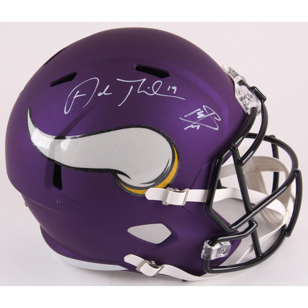 41fda702260 Adam Thielen   Stefon Diggs Signed Vikings Full-Size Matte Purple Speed  Helmet (TSE COA)