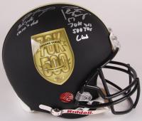 "Brett Favre & Peyton Manning ""70K Passing Yards & 500 Passing Touchdowns Club"" Custom Matte Black Full-Size Authentic On-Field Helmet #120/150 (Radtke COA & Fanatics Hologram)"