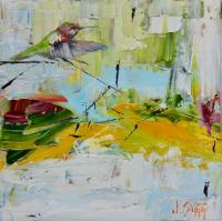 """Hummingbird Descending"" 10x10x1.5 Original Bird Painting by Janice Sugg"