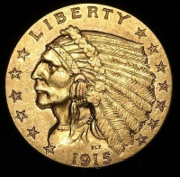 1915 $2.50 Indian Head Quarter Eagle Gold Coin (High Grade Condition) at PristineAuction.com