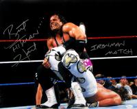 "Bret ""Hitman"" Hart Signed WrestleMania XII 16x20 Photo vs Shawn Michaels Inscribed ""Ironman Match"" (JSA COA)"