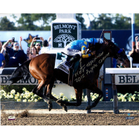 "Victor Espinoza Signed 2015 Belmont Stakes 16x20 Photo Inscribed ""2015 Triple Crown"" (Steiner COA)"
