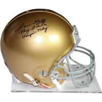 "Lou Holtz Signed Notre Dame Fighting Irish Full Size Authentic Proline Helmet Inscribed ""Play Like a Champion Today"" (JSA COA)"