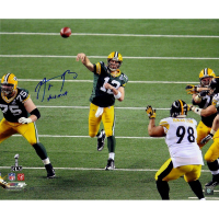 """Aaron Rodgers Signed Packers LE 20x24 Photo Inscribed """"XLV MVP"""" (Steiner COA)"""