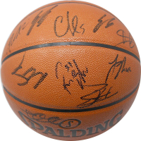 2017-18 Knicks Spalding Basketball Team-Signed by (15) with Tim Hardaway Jr., Kristaps Porzingis, Courtney Lee (Steiner COA)
