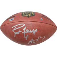 Aaron Rodgers & Brett Favre Signed Official NFL Football (Favre Hologram & Steiner COA) at PristineAuction.com