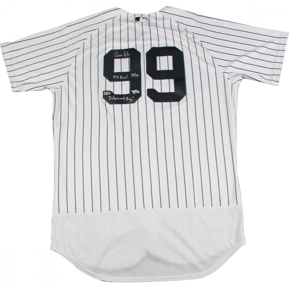 """490e7db7c Aaron Judge Signed LE Yankees Jersey Inscribed """"All Rise"""