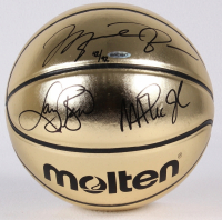 Michael Jordan, Larry Bird & Magic Johnson Signed LE Molten Gold Basketball (UDA COA) at PristineAuction.com