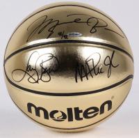 Michael Jordan, Larry Bird & Magic Johnson Signed LE Molten Gold Basketball (UDA COA)