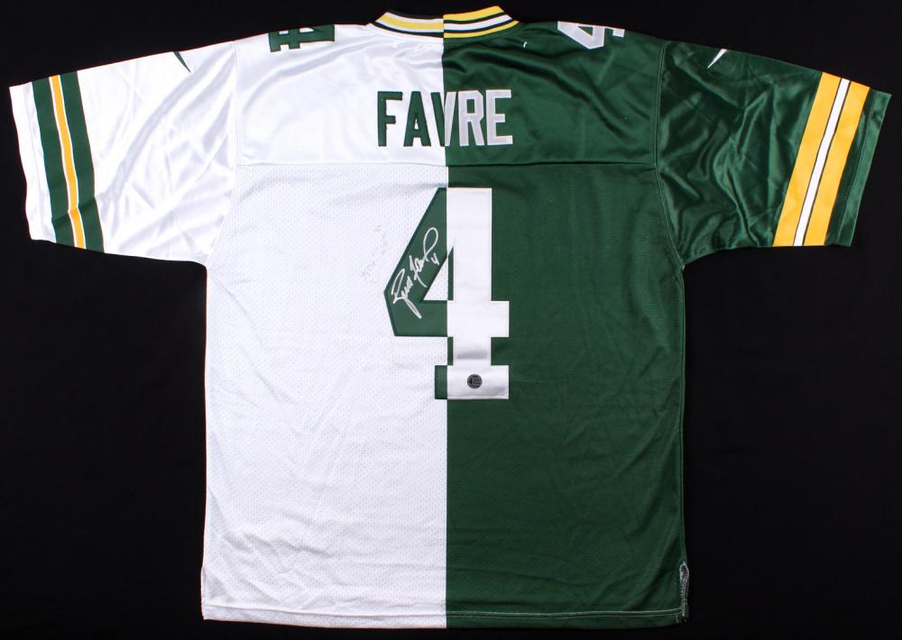 668673773 Brett Favre Signed Packers Split Home   Away Jersey (Brett Favre COA)