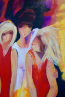 """Girls"" 24x48x1.5 Original Abstract Art by Piekarczyk (Donna Flanagan)"