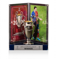 "Lionel ""Leo"" Messi Signed Barcelona 2009 UEFA Replica Trophy Display (Icons COA) at PristineAuction.com"